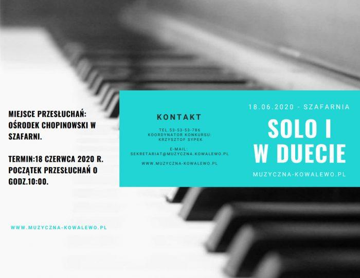 """V Ogólnopolski Konkurs Pianistyczny  """"SOLO I W DUECIE"""""""